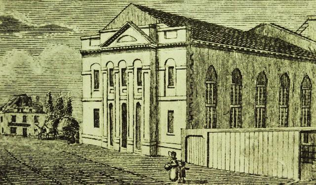 Vieux Montréal 1826. Rue Saint-Jacques >Ouest, donnant sur le Hay Market, par rue McGill.