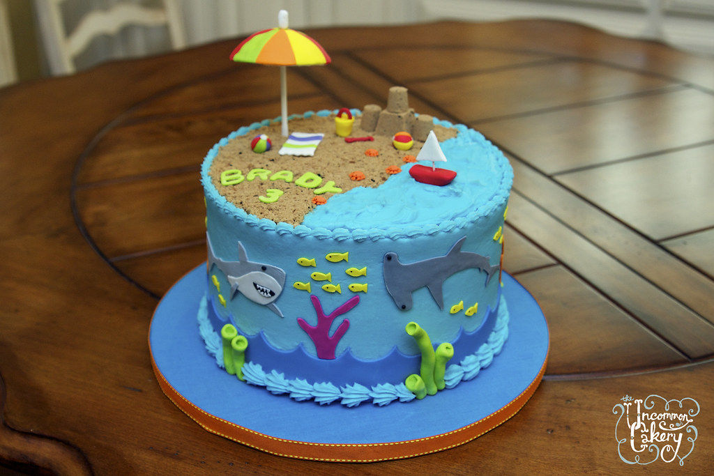 Magnificent Beach Shark Themed Birthday Cake 8 Inch Chocolate Cake W Flickr Funny Birthday Cards Online Overcheapnameinfo