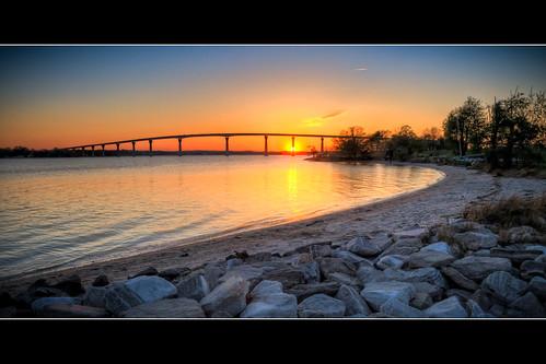 bridge sunset sky reflection beach water colors river rocks shoreline maryland hdr calvert patuxent solomons calvertcounty