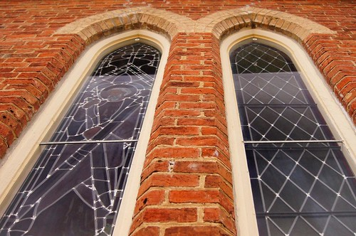 two ontario church window pair gothic redbrick stayner clearviewtownship stpatscatholicchurch