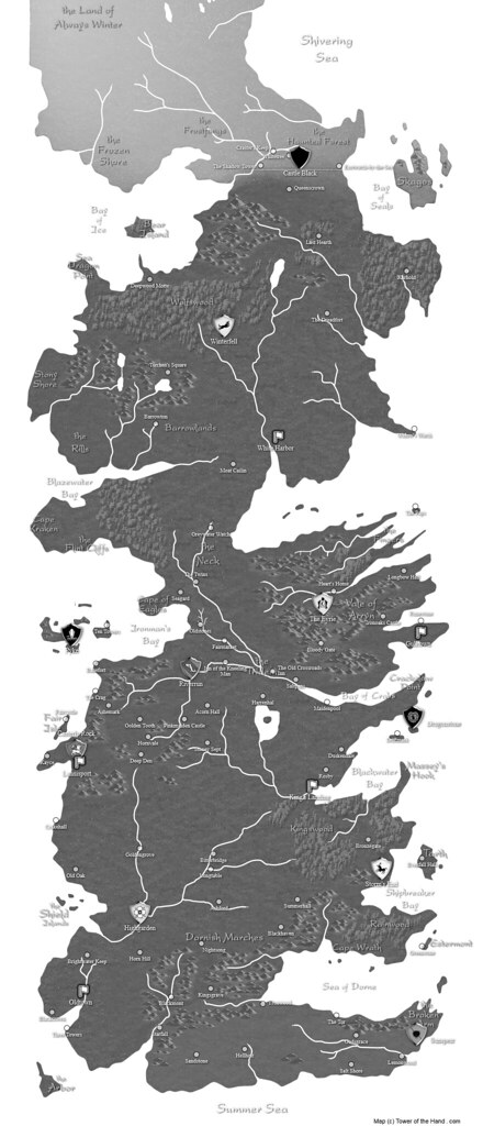 graphic regarding Printable Map of Westeros known as Westeros Map (Printable, BW) Map of Westeros (Printable
