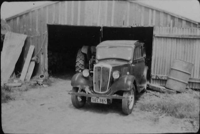 1937 Morris Eight in implement shed