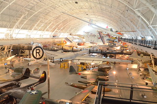 "Steven F. Udvar-Hazy Center: View of south hangar, including B-29 Superfortress ""Enola Gay"", a glimpse of the Air France Concorde, and many others 