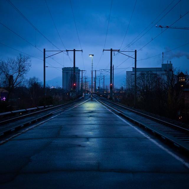 Wet Blue Light Night