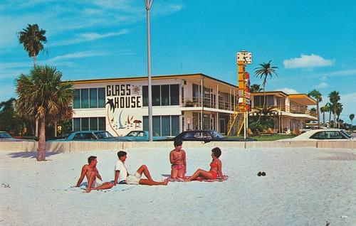 beach vintage florida postcard motel palmtrees clearwaterbeach beachbums clocksign