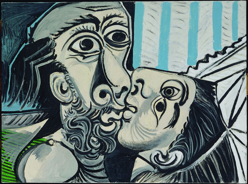 Pablo Picasso Le Baiser  (The Kiss) Oil on canvas. 1969 Musée National Picasso, Paris - Pablo Picasso's Masterpieces shine in exhibit at de Young Museum - by Lyrica Glory and Michael Cuffe - Warholian