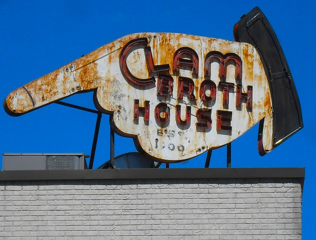 Hoboken New Jersey CLAM BROTH HOUSE Vintage Neon Sign MARCH 2011