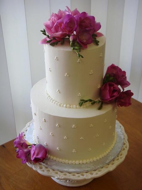 Small Swiss Dot Wedding Cake