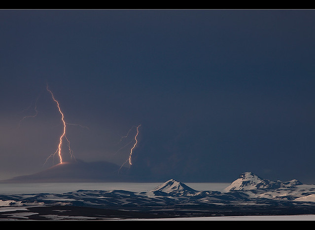 Lightning Strikes - Grímsvötn Eruption, Vatnajökull, Iceland