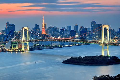 travel sunset sea vacation japan tokyo asia cityscape tokyotower odaiba bluehour minato rainbowbridge luíshenriqueboucault