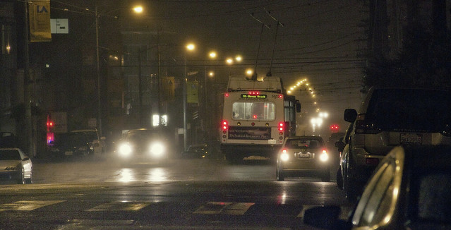 muni on a rainy night in the richmond, san francisco