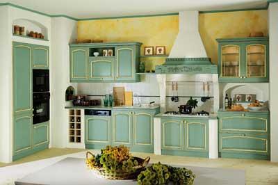 Cucina country verde e muratura | Cucina in stile americano ...