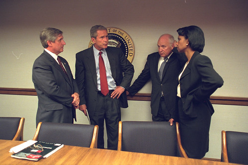 President Bush with Vice President Cheney and Senior Staff in the President's Emergency Operations Center (PEOC) | by The U.S. National Archives