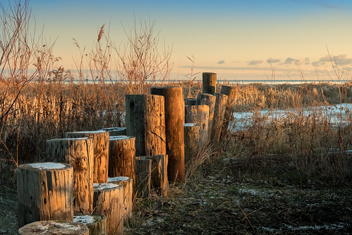 bay city baycitystatepark michigan sunrise breakwater lakehuron beach weeds clouds pink sky snow winter canoneos5dmarkiv