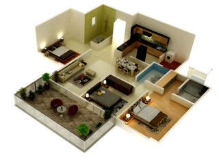 Floor Plan Of A 3 Bhk Flat In Kolte Patil Developers Tusc