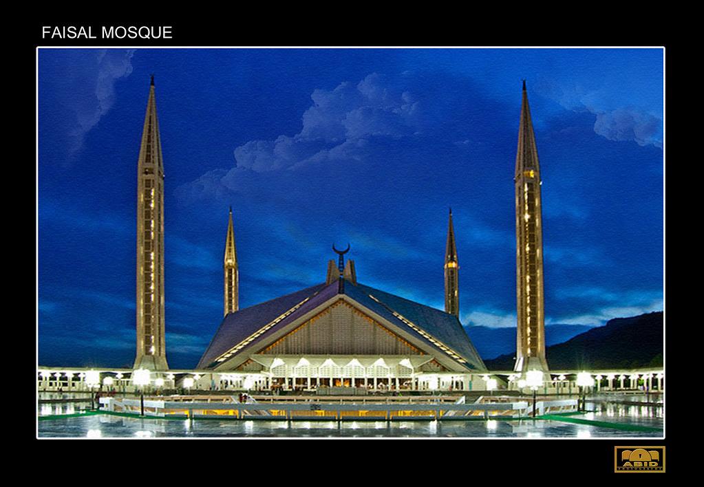 Faisal Mosque Faisal Masjid Islamabad Pakistan Night Vi
