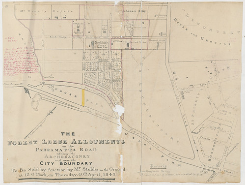 The Forest Lodge Allotments on the Parramatta Road adjoining the Archdeaconry and near the City Boundary [Sketch book 4 folio 193] | by NSW State Archives and Records