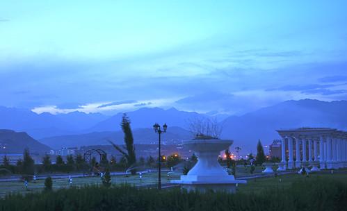 sunset mountains asia central tajikistan dushanbe amphitheater