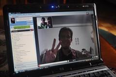 Fent Skype amb l'Antoine (el xicot de la Delvi que viu a Taipei ara)