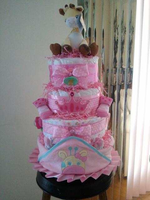 Gina Giraffe 4 Tier Diaper Cake (Girl)