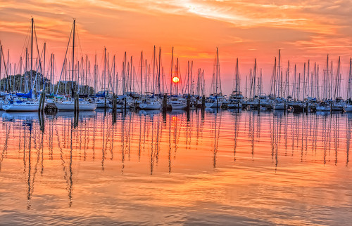 orange sunrise reflections stpetersburg boats harbor florida hdr topaz photomatix