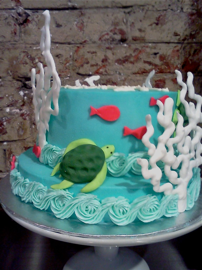 Awesome Ocean Themed Birthday Cake With Sea Turtles And Coral Flickr Personalised Birthday Cards Veneteletsinfo