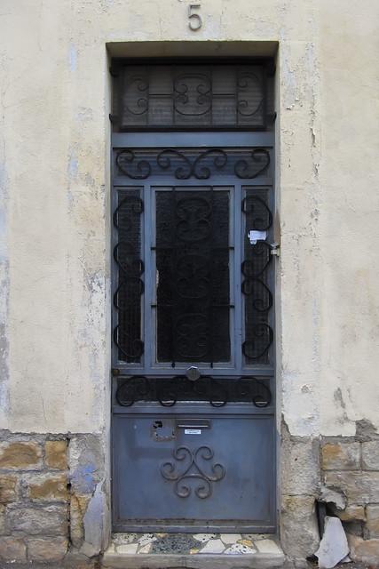 Door with ironwork