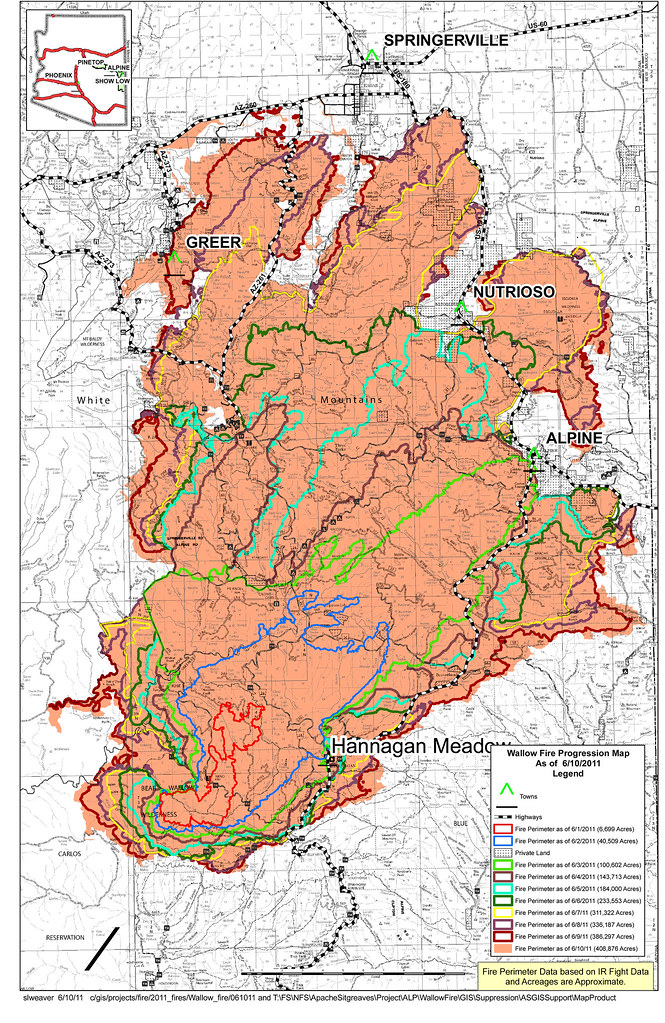 Progression Map June 10 | Wallow Fire growth as of the morni ...
