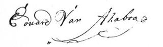 In 1758 ondertekende Eduard van Akoboa Laurenszn met deze ferme handtekening een notariele akte.