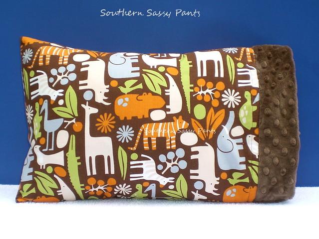 Baby Boy Pillow - 2D Zoo Chocolate