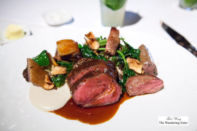 Roasted Lamb Loin, Sunchokes, Spring Greens and Hen of the Woods Mushrooms