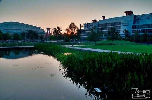 park sun reflection water sunrise nikon texas houston places conventioncenter hdr gbc 2011 discoverygreen d5000 georgebrownconventioncenter nikond5000