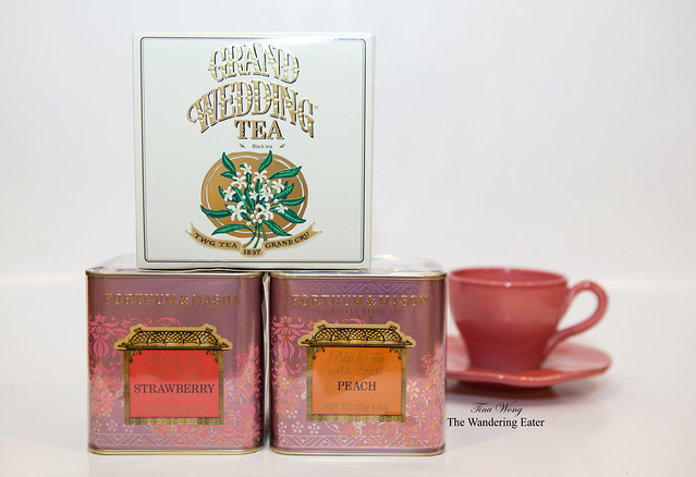 TWG Grand Wedding Tea (I bought from Harrod's) and Fortnum & Mason Strawberry and Peach teas