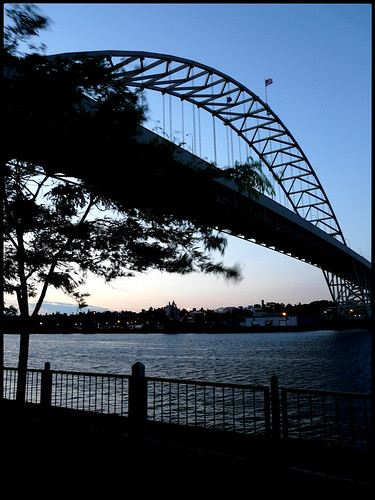 sunset tree oregon fence portland flag bridges fremont willametteriver odc1