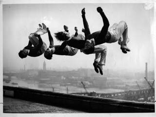 Photo used for show announcement (1935 (summer) unknown photographer for Associated Press London - The Four Trojans flipping on a rooftop) | by blacque_jacques