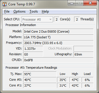 Core Temp – Free Portable CPU Temperature Monitoring Softw