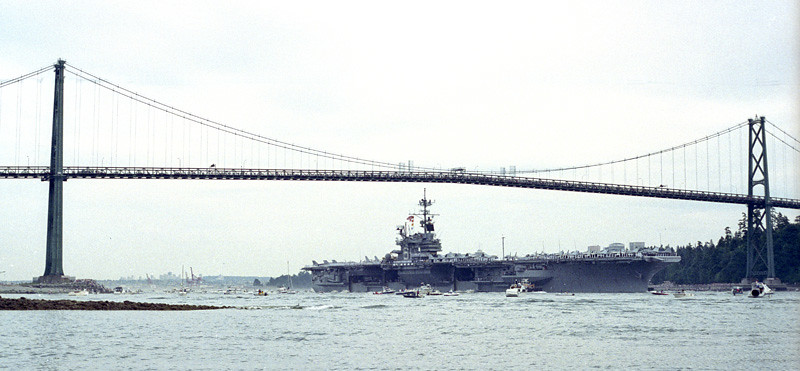 USS Ranger passing under the Lions Gate Bridge | US aircraft