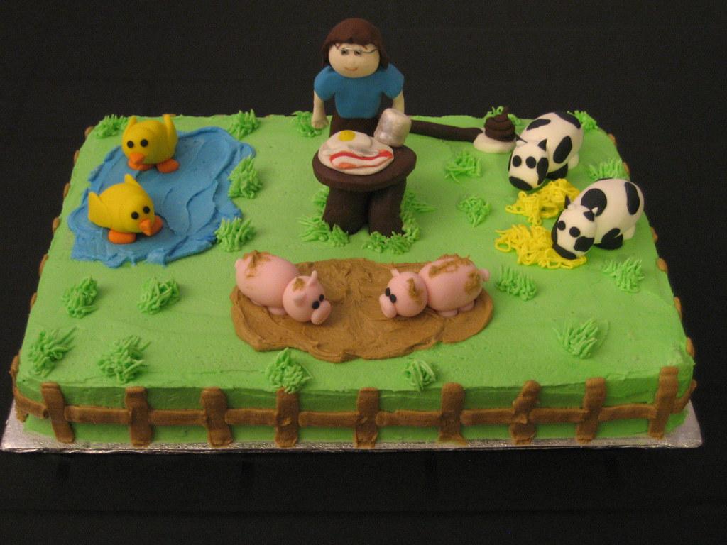 Surprising Farm Birthday Cake A Photo On Flickriver Funny Birthday Cards Online Unhofree Goldxyz