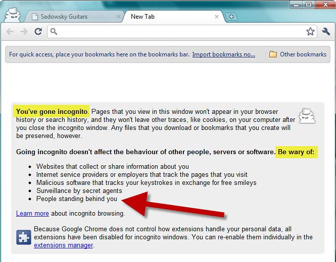 Chrome Incognito browsing - #3 |