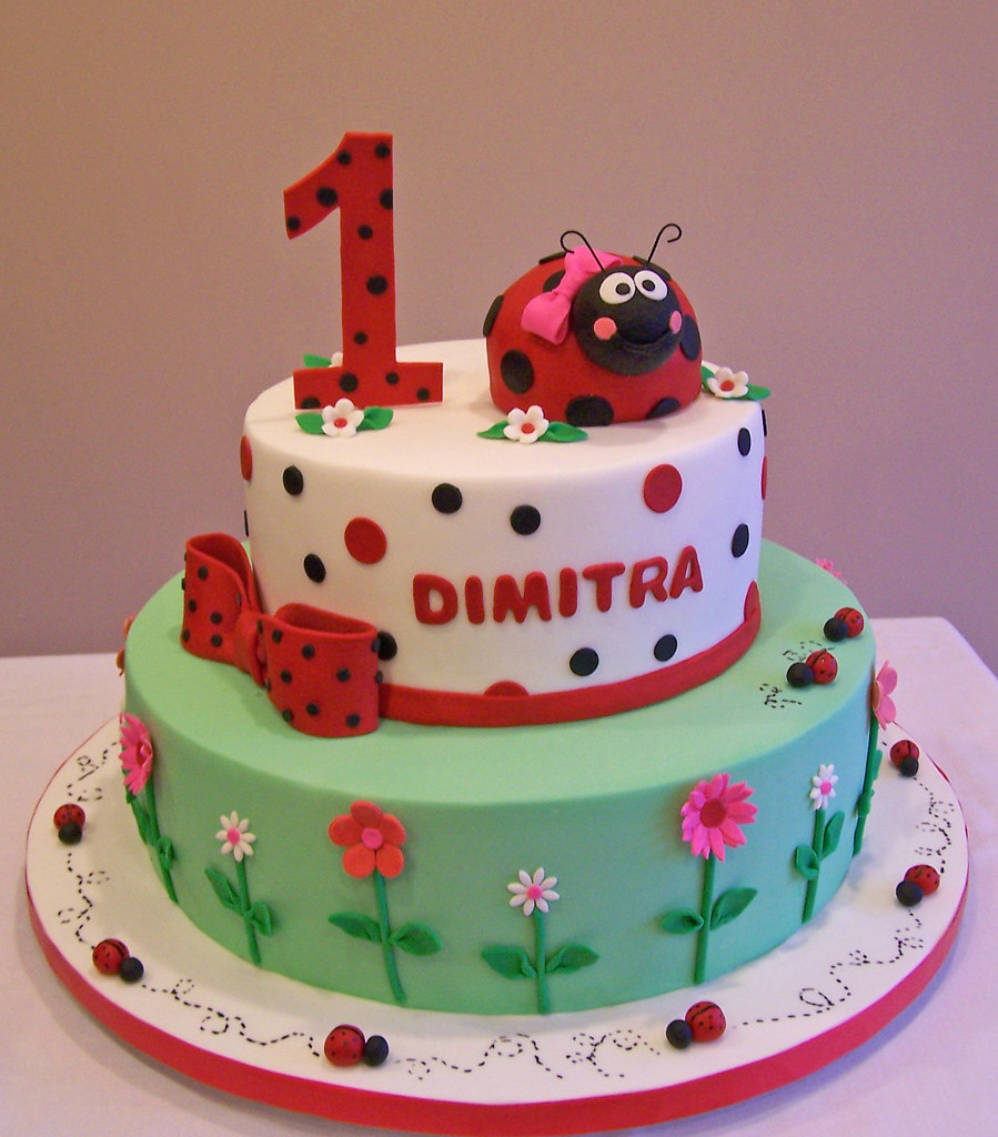 Prime Ladybug First Birthday Cake This Is An Old Design Of Mine Flickr Personalised Birthday Cards Sponlily Jamesorg