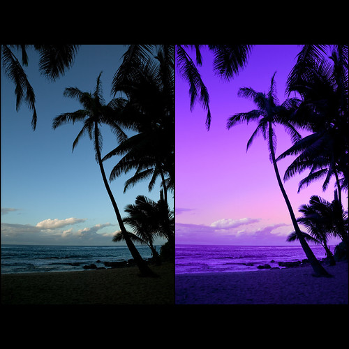 "Tropical paradise sunset - tutorial comparison | by IronRodArt - Royce Bair (""Star Shooter"")"
