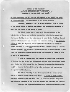 Transcript of Message to Congress Requesting Declaration of War Against Japan, 12/08/1941 (page 1 of 3)