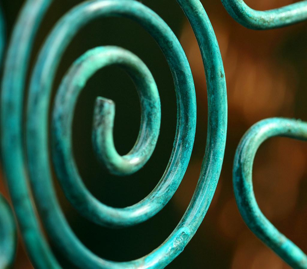 Verdigris on Copper Coils   A macro detail of copper coil cr
