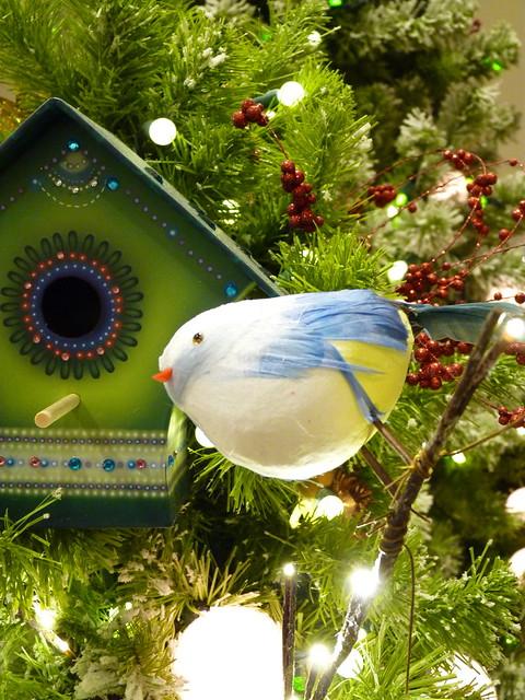 Merry Christmas!  Bluebird Ornament with Pretty Birdhouse