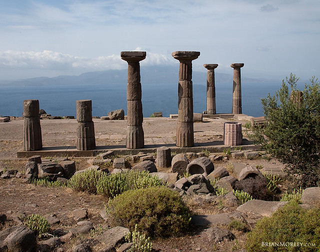 Temple of Athena in Assos, Turkey; Island of Lesbos in Background