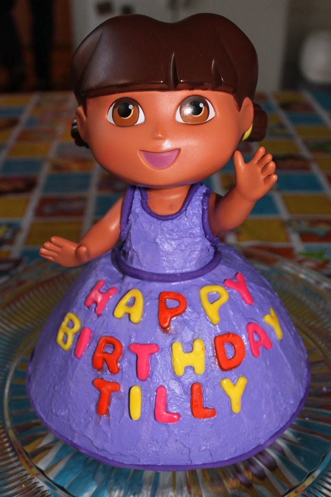 Enjoyable Dora The Explorer Birthday Cake Watch Out Food Network Her Flickr Birthday Cards Printable Trancafe Filternl