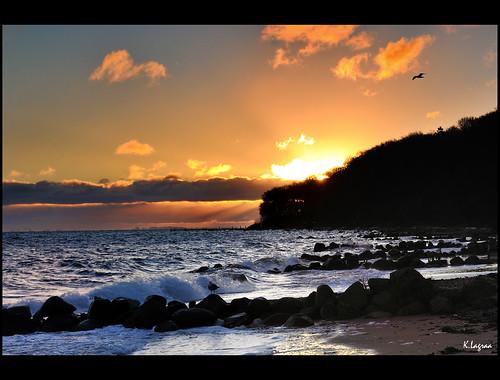ocean morning light orange sun beautiful beauty clouds composition contrast sunrise landscape denmark photography coast photo amazing interesting nikon view shot image feel charming capture scandinavia sunrays paysage vue share learn vr aarhus lense sense danemark 1635 kader 1635mm scandinavie abdelkader d700 lagraa klagraa