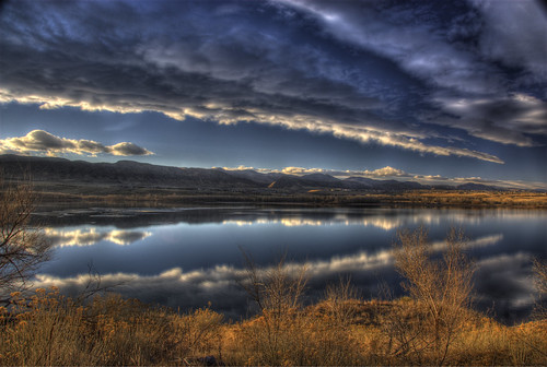 trees sunset sky mountain lake cold reflection ice nature water clouds landscape photo colorado image picture denver chatfield hdr littleton photomatix 201011