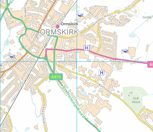 OS VectorMap of Ormskirk. Crown copyright and database rights 2010 Ordnance Survey.