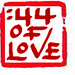 44 minutes of love logo stamp